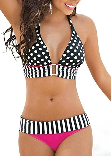 OWIKAR Women Polka Dots Padded Bra Bikini Set Striped Halterneck Swimwear