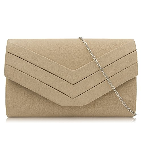 Milisente Clutch Purses for Women Velvet Envelope Evening Bags Classic Shoulder Clutch Purse (Beige)