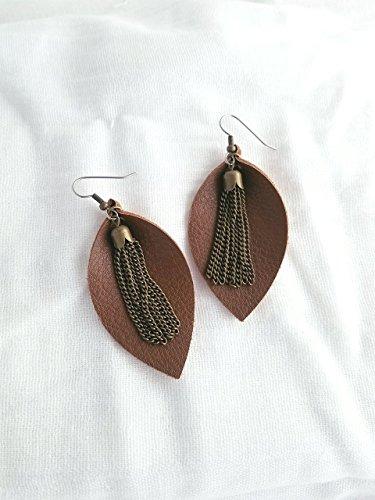 Brown Leather Earrings/Metallic Tassel/FREE SHIPPING/Joanna Gaines/Statement Earrings/Leaf/Medium/2.5