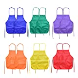 Ancefine 6 Color 12 Pack Non-Woven Fabric Children's Smock Artist Panting Aprons with 2 Pocket