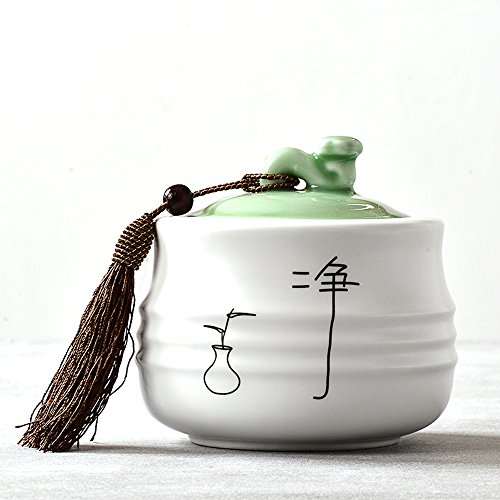XDOBO L Ceramic Tea Tin Dry Goods Seal Pot Tea Storage Container Sealed Can Tea Accessories (C)