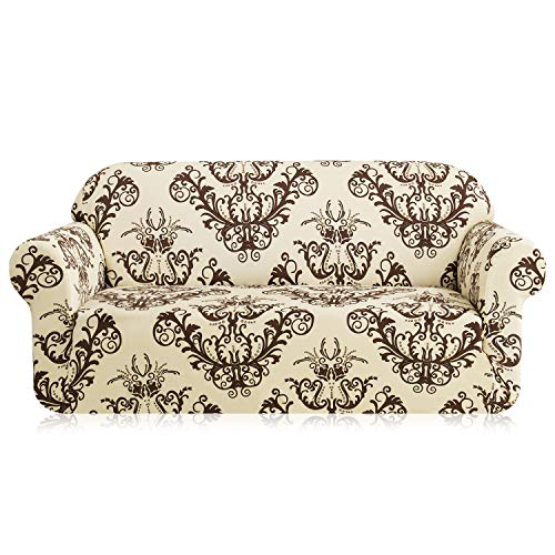 TIKAMI Printed Floral Sofa Slipcovers Stretch Spandex Couch Covers Stylish Furniture Protector for Living Room(Sofa, Coffee)