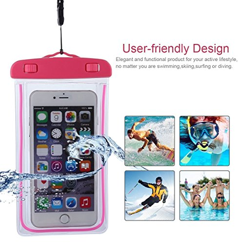 HAISSKY Waterproof Bag IPX8 Universal Noctilucent Cellphone Underwater Dry Pouch Cases Cover for iPhone X/8/7/6/6S Plus Samsung Galaxy S8/S8 Plus/Note 8 HTC Sony LG Up to 6.2 -Rose