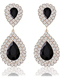 Womens Crystal Rhinestone Wedding Hypoallergenic Drop Earrings for Mother's Day Silver Gold Rose Gold Plated