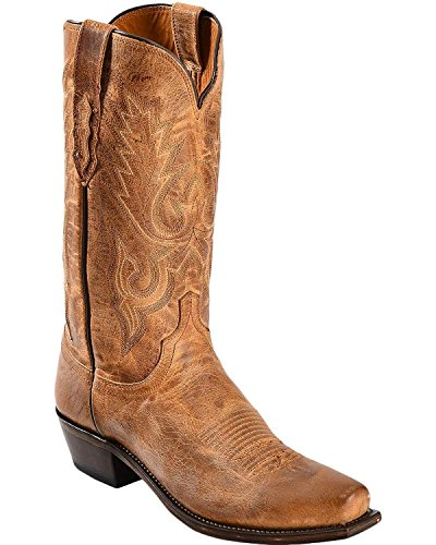 (Lucchese Men's Handmade 1883 Mad Dog Goatskin Cowboy Boot Square Toe Tan 8.5 EE US)
