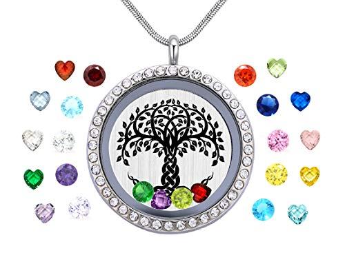 Vinncy Famliy Tree of Life Necklace with 24 Birthstones Floating Charms Memory Locket DIY Pendant for Mummy Mom Mother Grandma Nana Aunt Niece Sister Women Girls