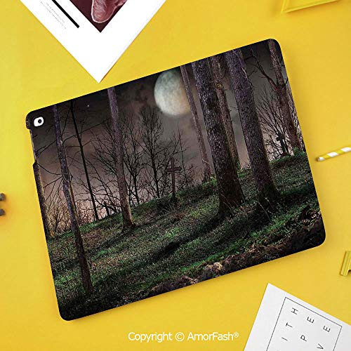 Case for Samsung Galaxy Tab S4 10.5 T830 T835 T837 Kids Safe Shockproof,Gothic,Dark Night in The Forest with Full Moon Horror Theme Grunge Style Halloween,Brown Green Yellow]()