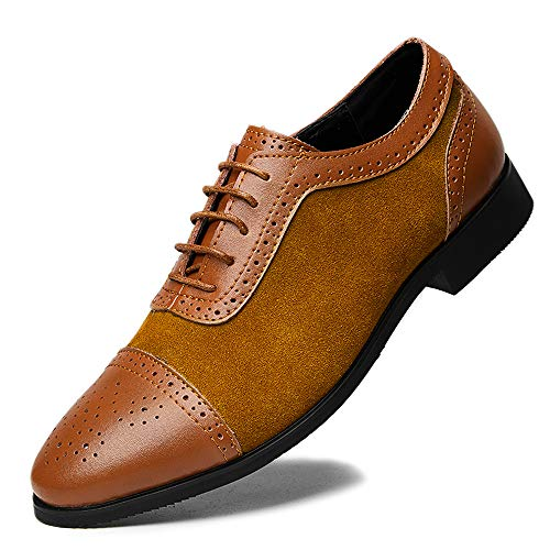 Suede Lace Up Walking Shoes - Dress Shoes for Men Fashion Classic lace up Suede Leather Brogue Business Casual Shoes Office Formal Breathable Comfort Oxfords Wingtip Walking Brown Size 11 (7735-Yellowbrown-45)