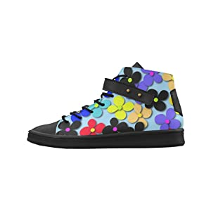 Shoes No.1 Women's Sneakers Lyra Round Toe High-top Shoes Hippie Trippy Love Peace Flowers For Outdoor