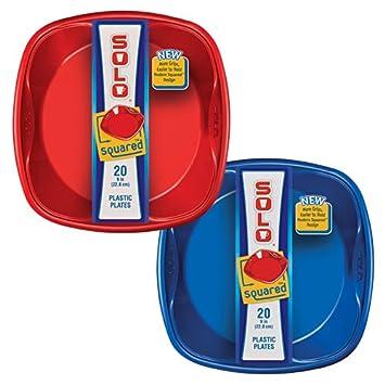 Solo 9\u0026quot; x 9\u0026quot; Solo Squared Plates (Red \u0026 Blue) 20  sc 1 st  Amazon.com & Amazon.com: Solo 9\