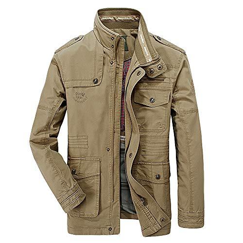 Realdo Men's Casual Jacket, Mens Autumn Winter Fashion Multi-Pocket Durable Long Sleeve Cargo Coat(2X-Large,Khaki) ()