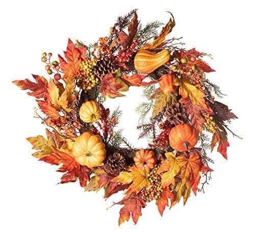 (Regency Pumpkin Gourd Maple Berry Wreath 26 Inch)