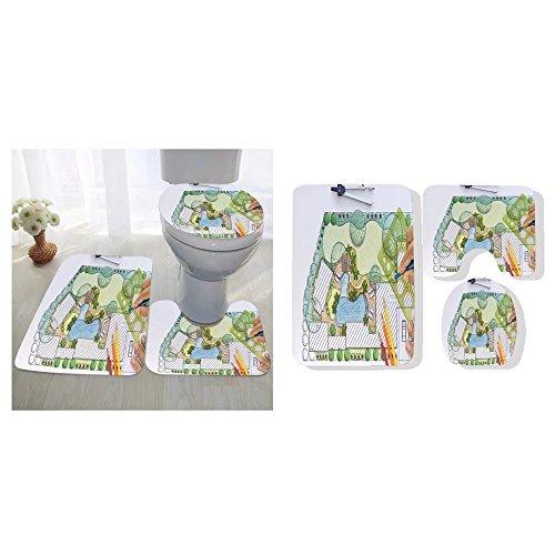 Grace Little three-piece toilet seat pad custom landscape architect design backyard plan for villa Plans Yard
