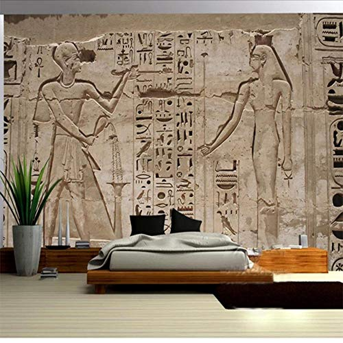 - Wall Stickers Murals Photo Wallpaper 3D Ancient Egypt Pharaoh Stone Carving Living Room Bedroom Home Wall Non-Woven Waterproof Mural Roll 120X100Cm