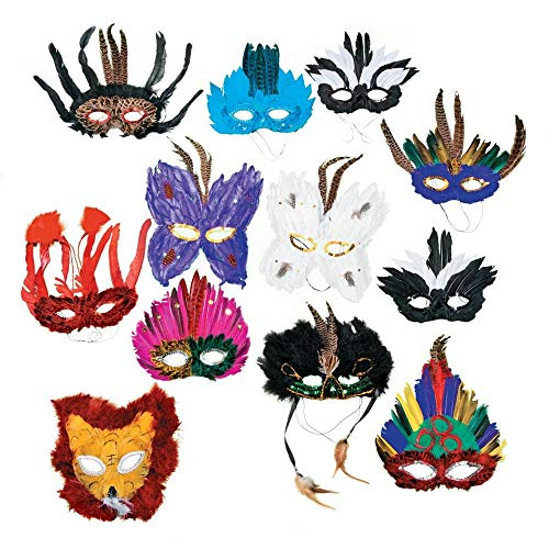 Fun Express Deluxe Feather Mask Assortment (1 Dozen) -