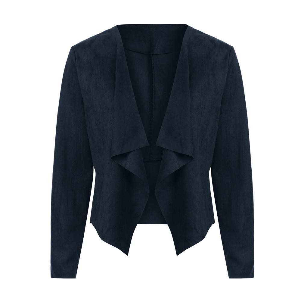 Jinjiums Womens Jacket,Fashion Long Sleeve Leather Open Front Short Cardigan Suit Jacket Solid Color Work Office Coat