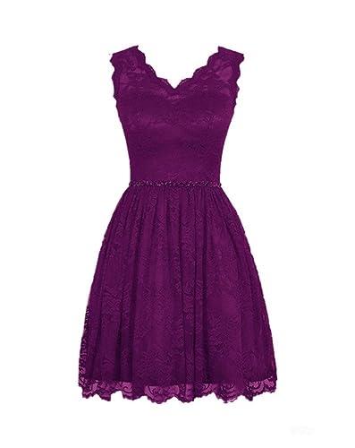 LOVEBEAUTY® Women's Elegant Lace V-neck Short Prom Dress Bridesmaid Dresses