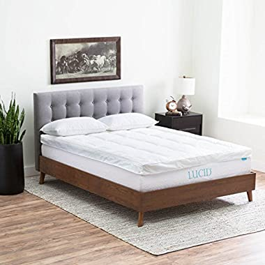 LUCID Hybrid Down Alternative + Gel-Infused Memory Foam Mattress Topper -  King