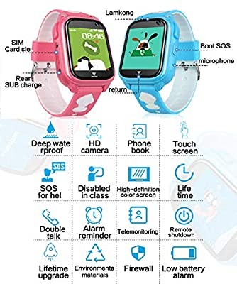 Kids Smart Watch Phone with Free SIM Card Outdoor IP67 Waterproof Sport Watch GPS Activity Tracker Call SOS Voice Chat Camera Alarm Game Smartwatch