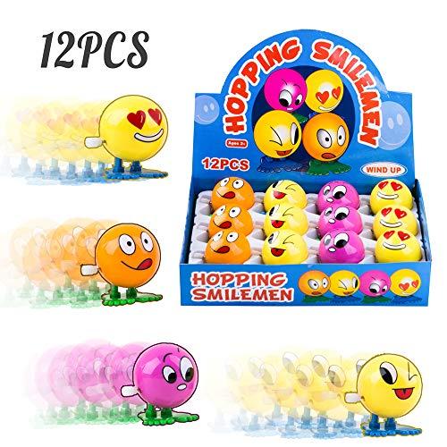 PROLOSO 12 Pack Wind up Toys Clockwork Playset (Emoji)
