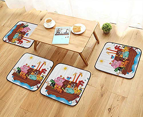 Printsonne Modern Chair Cushions Cute of Noahs Ark Boat in Sunny with Carto Mascots Story God Convenient Safety and Hygiene W23.5 x L23.5/4PCS Set