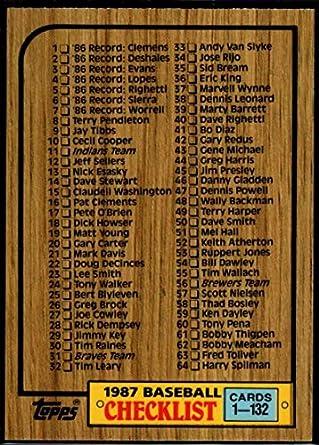 Amazoncom Baseball Mlb 1987 Topps Tiffany 128 Checklist 1