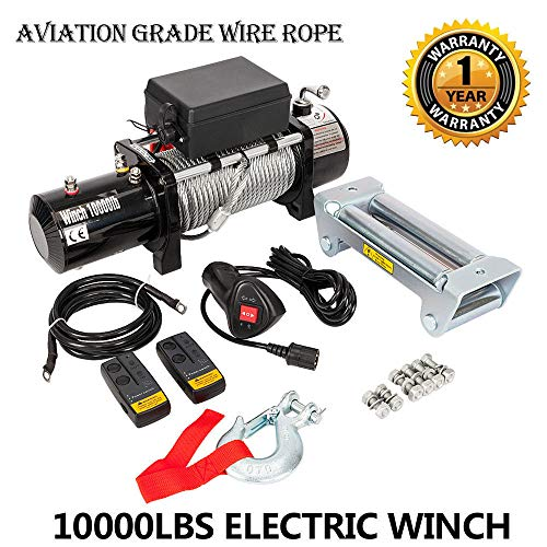 Electric Winch Recovery 12V 10000lbs Winch Trailer Truck SUV with Wireless Remote Control Kit