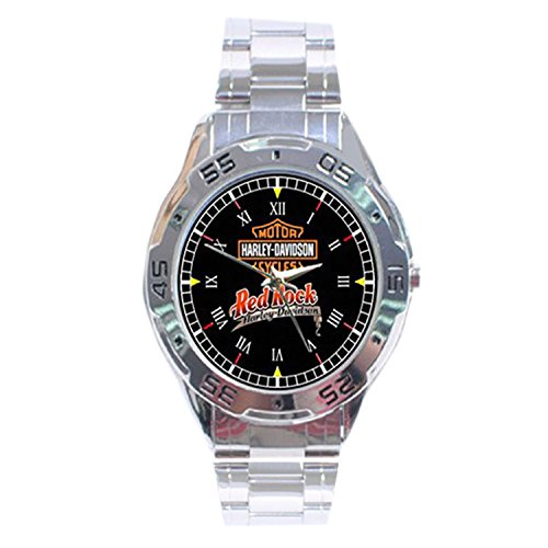 MRZK022 NEW RARE Red Rock Harley Davidson CUSTOM CASUAL CHROME MEN'S WATCH WRISTWATCHES