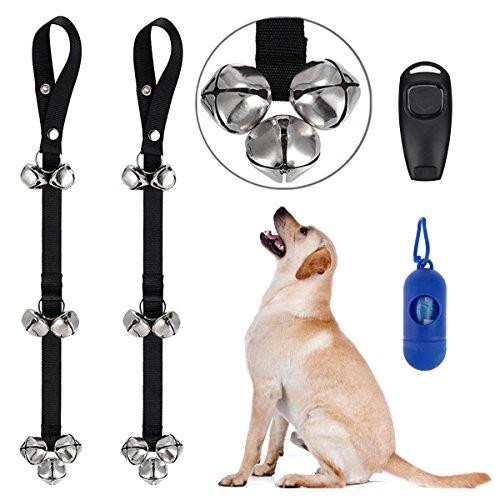 Douronc Dog Doorbells, Premium Dog Bells Adjustable Training Potty Housebreaking Your Doggy, Door Bell Dog Bells Potty One Clicker One Dog Waste Bag Dispenser 15 Count Bags