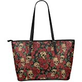InterestPrint Rose Sugar Skull Women's Leather Tote Shoulder Bags Handbags