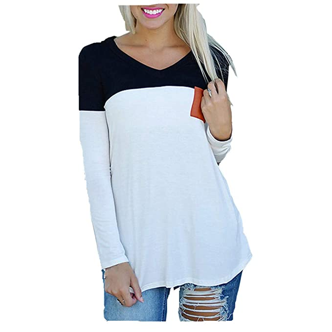 20e23725f79 ❤ Long Sleeve Stitching Top, Clearance Fashion Women's Long Sleeve Shirt  Casual Blouse Loose Cotton Tops T-Shirt Duseedik at Amazon Women's Clothing  ...