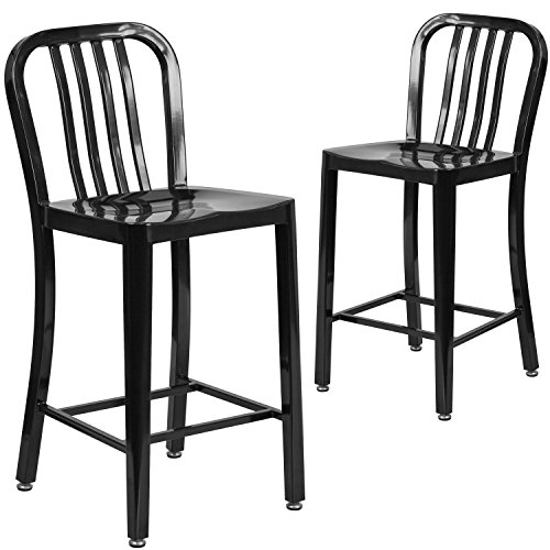 Flash Furniture 2 Pack 24 High Black Metal Indoor-Outdoor Counter Height Stool with Vertical Slat Back