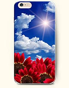 OOFIT iPhone 6 Case ( 4.7 Inches ) - Red bright sunflowers blooming under the bright sun