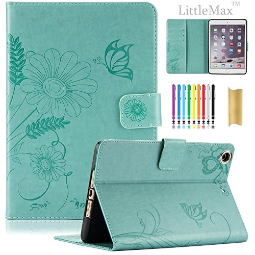 LittleMax Mini 2 3 Case Smart Embossed PU Leather Flower Cards Holder Case Stand Cover with Auto Wake/Sleep for Comptible for iPad Mini 3/2 / 1 [7.9 Inch Tablet]-Mint Butterfly