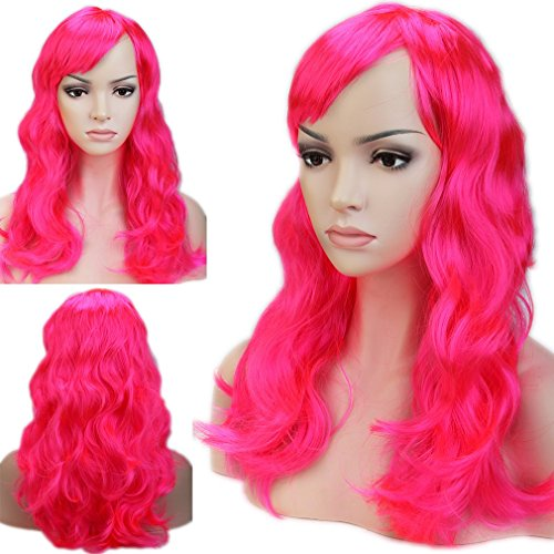 Dancing Party Wig Cosplay Wigs Synthetic Long Curly Straight Full Costume Wig with Bangs and Cap Halloween Wigs for Women Men Girl Boy Teens (19