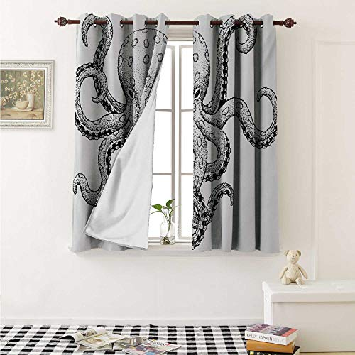 shenglv Octopus Blackout Draperies for Bedroom Sketch Style Print of Deadly Blue Ringed Octopus Camouflage Marine Animal Aquatic Curtains Kitchen Valance W72 x L63 Inch Ecru - Globe Camo Marine