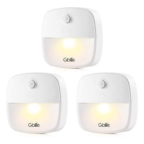 Led Luz Nocturna Sensor de Movimiento de GBlife, LED Luz Nocturna con Pilas, Luz