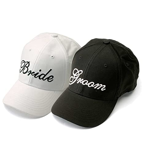 ddd73613056 Amazon.com   Bride and Groom Wedding Baseball Caps Hats Black Embroidery on  White Hat   Everything Else