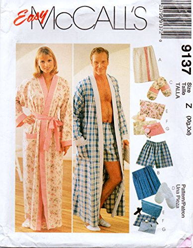 McCall's 9137 Misses and Men's Unisex Robe, Shorts, Slipperes and Gift Assessories Sewing Pattern Size XL-XXL, 42-48