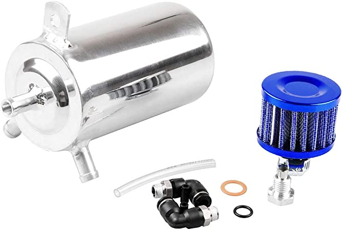 Silver Aluminum Car Engine Modified Oil Catch Tank Reservoir Breather Can 500ml