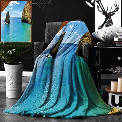 Unique Custom Double Sides Print Flannel Blankets Natural Cave Decorations Collection Stone Gorge And Pavilion Image Asian Faith Temple Super Soft Blanketry for Bed Couch, Twin Size 60 x 70 Inches by Ralahome