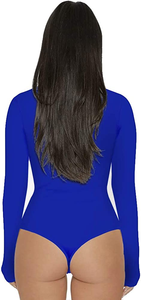Shaoyao Womens High Collar Bodysuit Long Sleeve Stretch Leotard Jumpsuits