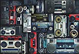 AOFOTO 8x6ft Vintage Wall of Radio Boombox Backdrop Retro 80s Style Photography Background Nostalgic Old-fashioned Amplifier Music Antique Audio Bass Loudspeaker Photo Studio Props Vinyl Wallpaper