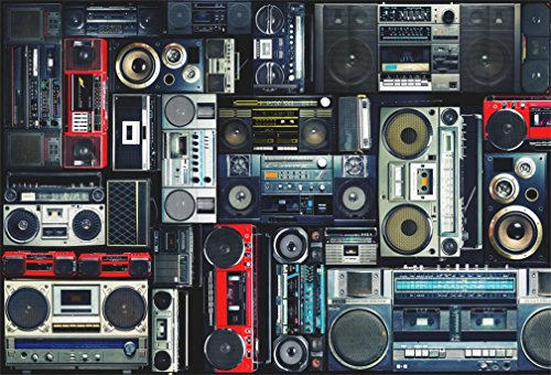 AOFOTO 8x6ft Vintage Wall of Radio Boombox Backdrop Retro 80s Style Photography Background Nostalgic Old-Fashioned Amplifier Music Antique Audio Bass Loudspeaker Photo Studio Props Vinyl Wallpaper -