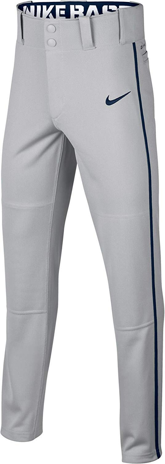Nike Boys' Swoosh Piped Dri-FIT Baseball Pants (S, Grey/Navy) by Nike