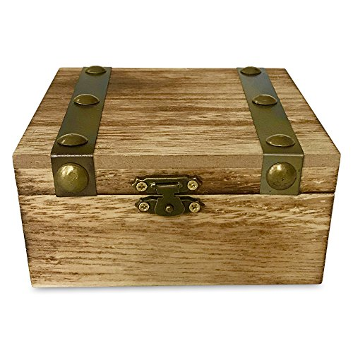 Whole House Worlds The Sedona Box, Metal Bands, Brass Topped Rivets, Table Top Decorative Storage Gift Keepsake Treasure Accessory Wood, Vintage Style, Distressed (Band Rivets)