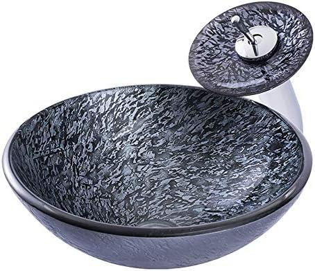 洗面ボウル レトロスタイルの強化ガラスの上カウンター盆地浴室トイレ洗面台 洗面台 (Color : Black, Size : 42.5x42.5x14.5cm)