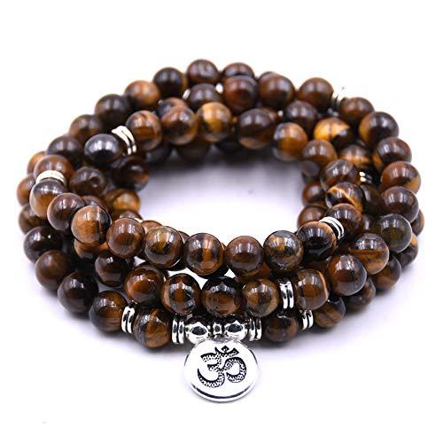 Summer Win 8mm 108 Amazonite Mala Beads Yoga Necklace Bracelet for Men Women for Yoga Buddhist Rosary Prayer Natural Gemstone Agate Jade (Brown Tiger Eye)