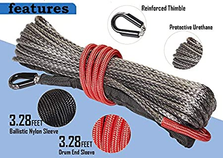 ZEAK 1//5/'/'/×49/' Durable Gray Synthetic Rope 5300lb Max Breaking Strength Winch Line Rope with Protective Sleeve for 4WD Off Road ATV UTV Truck Silver-Gray