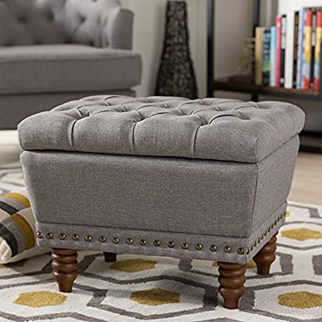 Baxton Studio Annabelle Modern And Contemporary Light Grey Fabric Upholstered Walnut Wood Finished Button Tufted Storage Ottoman